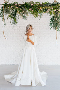 Modern Simple Long Sleeve A-Line Satin Wedding Dress With Open Back ...