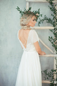 Jewel Neck Cap Sleeve A-Line Chiffon Wedding Dress With Beaded Bodice