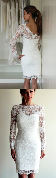 Illusion Neckline Long Sleeve Short Lace Wedding Dress With V Back-ET_711608