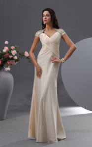 Queen Anne Graceful Gown With Shiny Floral Cap-Sleeves-GC_312334
