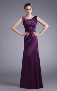 Sleeveless Satin Floor-Length Gown with Stress-GC_315641