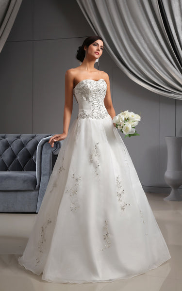 Organza Embroidered Top A-Line Sweetheart Gown-GC_705270