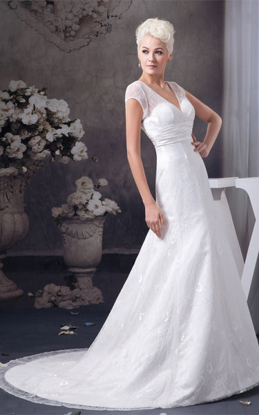 Plunged Caped-Sleeve A-Line Gown with Appliques and Ruched Waist-GC_707293