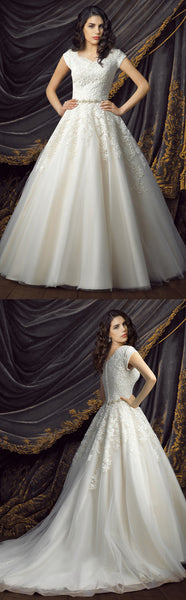 Royal Short Sleeve Ball Gown Wedding Dresses-HT_708787