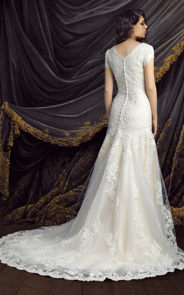 Modest Short Sleeve Lace Wedding Dress-HT_708794