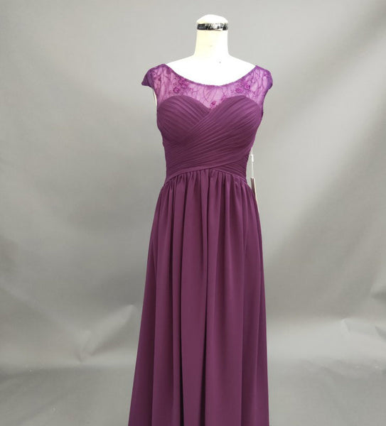 Chiffon Lace Top Ruched Cap-Sleeve A-Line Bridesmaid Dress