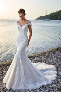 Trumpet Floor-Length V-Neck Cap-Sleeve Lace&Tulle Wedding Dress With Appliques-MK_702090