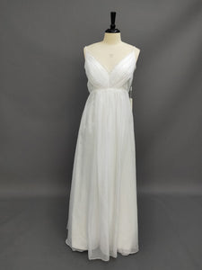 Sheath Empire Spaghetti Chiffon Wedding Dress With Pleats