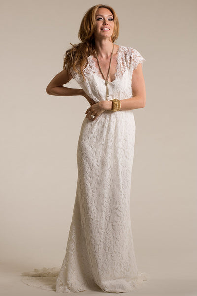 Long V-Neck Cap-Sleeve Lace Wedding Dress With Sweep Train And Keyhole-MK_702323