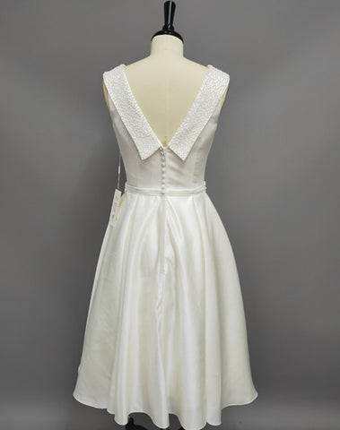 A-Line Scoop-Neck Tea-Length Satin Wedding Dress With Beading And V Back-MK_705290
