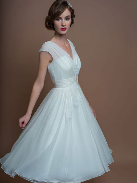 A-Line V-Neck Tea-Length Cap-Sleeve Appliqued Tulle Wedding Dress With Ruching-MK_705299