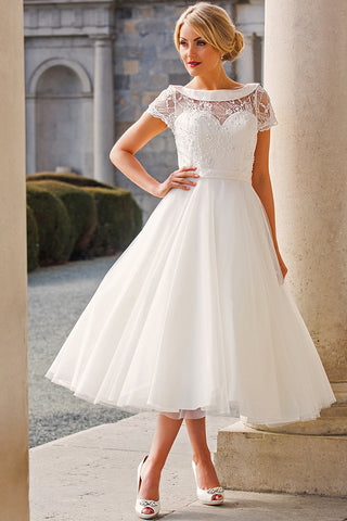Tea-Length A-Line Cap Sleeve Beaded Bateau Neck Tulle Wedding Dress-MK_705906