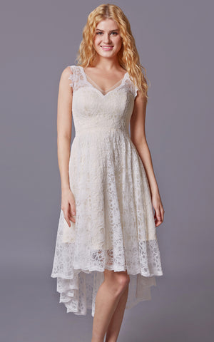 Sleeveless High Low Lace Bridesmaid Dress With V-neck-ZP_101610