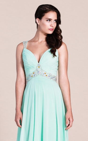 Exquisite Sleeveless Ruched Bodice Chiffon Skirt With Beaded Straps and Waistline-ZP_311773