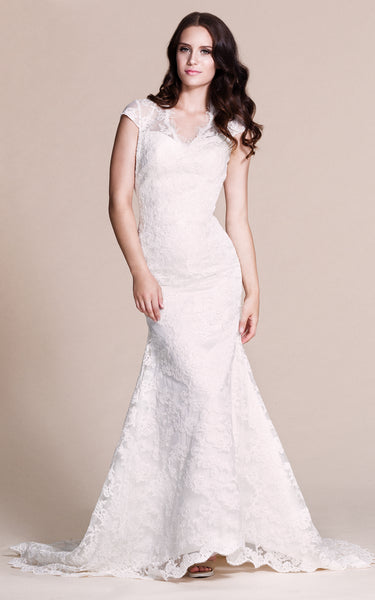 Cap-sleeved Mermaid Lace Dress With Keyhole Back-ZP_703930