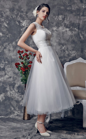 Vintage Tea-Length Wedding Dress with Illusion Back-ZP_706165