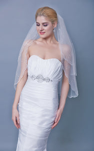 Two Tier Sequined Mid Veil With Beaded Trim-ZP_810068