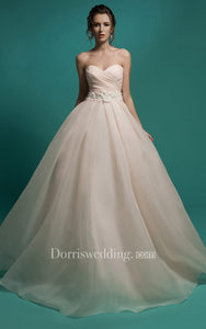 A-Line Long Sweetheart Sleeveless Lace-Up Organza Dress With Ruching And Appliques