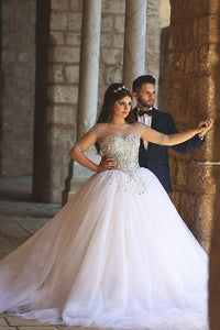Glamorous Illusion Half Sleeve Tulle Wedding Dress Beadings Ball Gown