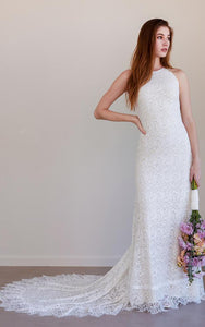 Bohemian Jewel Sheath Lace Floor-length Sleeveless Wedding Dress with Keyhole and Court Train