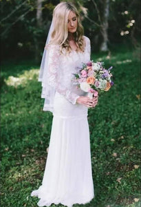 Country Bohemian Full Lace Sheer Long Sleeves Sweep Train Wedding Dress