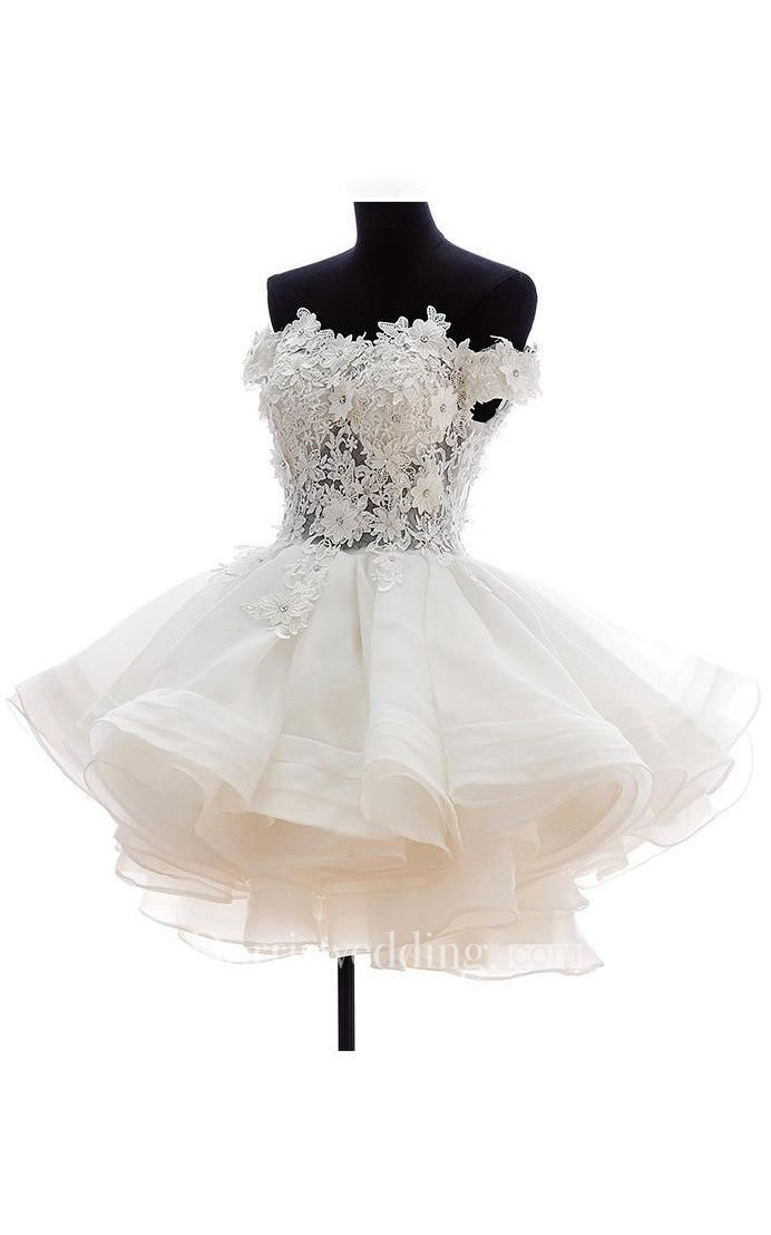 Ball Gown Mini Off-The-Shoulder Appliques Button Zipper Corset Back Lace Organza Dress