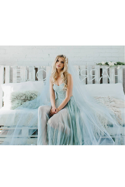 Bridal Veil Light Blue Extra Long Trailing Simple Wedding Veil Ocean Blue