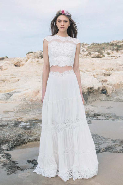 Jewel-Neck Cap-Sleeve Lace Chiffon Two-Piece Wedding Dress