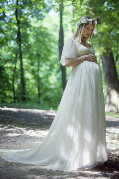 Country V-neck Short Sleeve Lace Pleated Maternity Wedding Dress