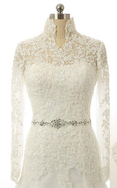 Mermaid High Neck Long Sleeve Lace Dress With Beading