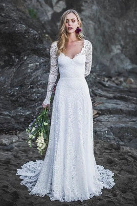 Elegant A-Line Lace Long Sleeve Wedding Gown With V-Neck And Keyhole Back