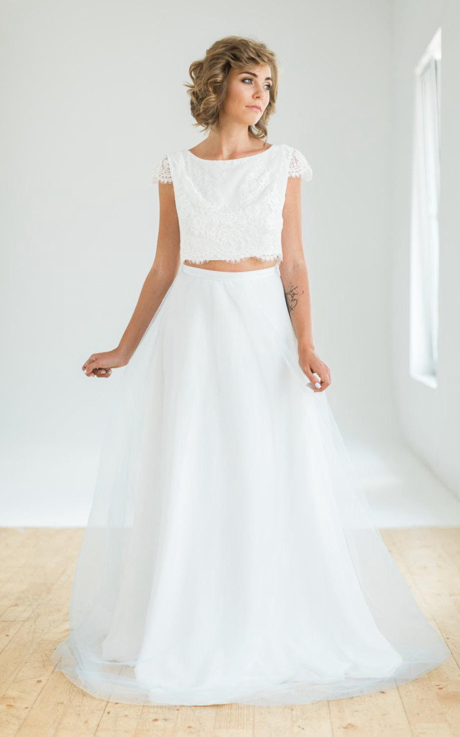 Crop Top Two Piece Wedding With Lace Top And Flowing Blue Skirt Dress