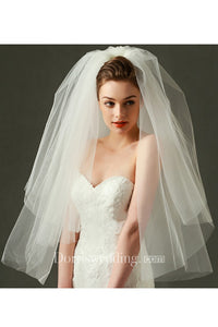 Korean Style Multi-layer Simple Short Puff Tulle Cover Bride Wedding Veil