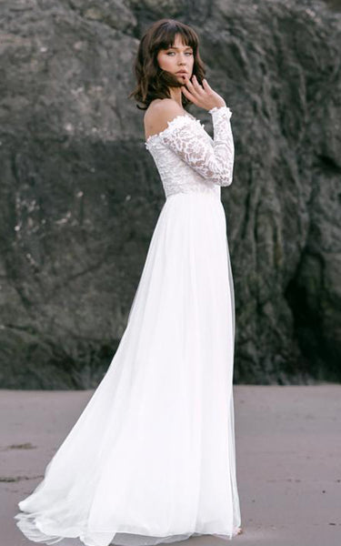 Simple Off-the-shoulder A Line Lace Tulle Long Sleeve Floor-length Wedding Dress with Sweep Train