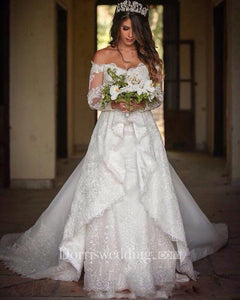 Off Shoulder Long Sleeves Backless Lace Wedding Bridal Gown