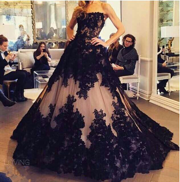 Chic Lace Appliques Ball Gown Evening Dress 2016 Strapless Sleeveless-318820