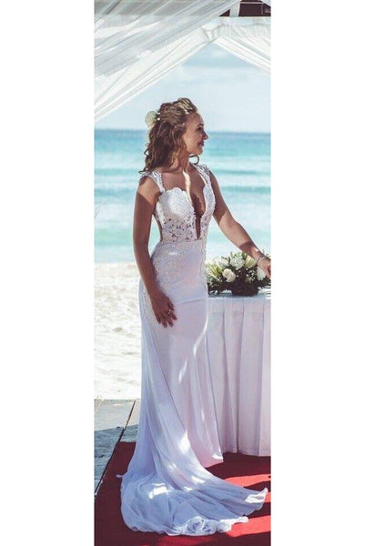 Modern Deep V-neck Mermaid Wedding Dress With Lace Appliques