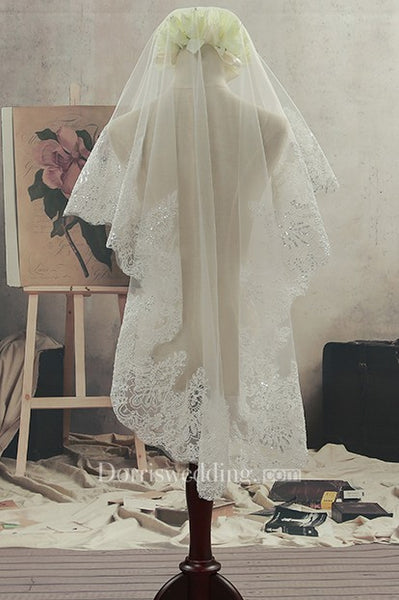 Simple Short Fingertip Tulle Wedding Veil with Beading and Lace Edge