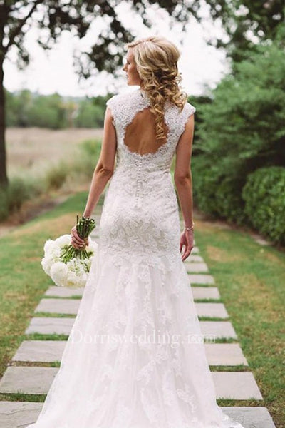 Elegant Lace Appliques Wedding Dress With Key Hole Zipper Button Back