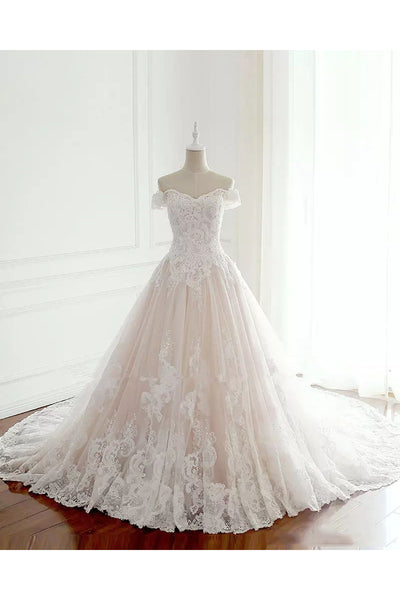 A-line Off-the-shoulder Sleeveless Floor-length Chapel Train Lace Tulle Wedding Dress with Pleats