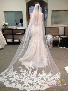New Korean Style Retro Corded Lace Applique Long Tail Trailing Soft Bridal Veil