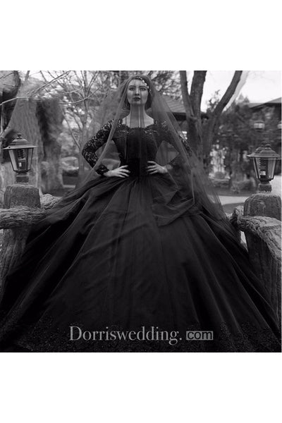 2018 Latest Black Ethereal Puffy Long Wedding Veil