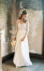 V-Neck Illusion Long Sleeve Dress With Draping And Illusion Back