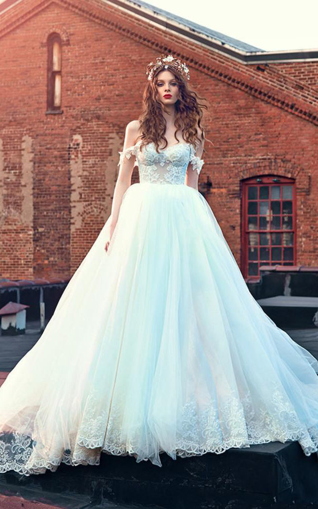 Ball Gown Short Off-The-Shoulder Sleeveless Bell Pleats Appliques Backless Tulle Lace Dress