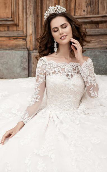 A-Line Mini Off-The-Shoulder Long Sleeve Bell Pleats Beading Appliques Court Train Button Lace Dress
