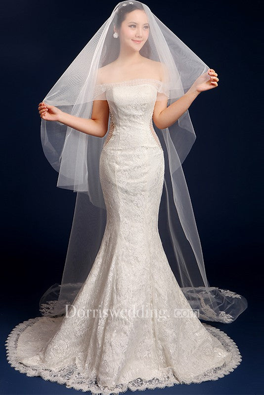 Beautiful Korean Cathedral Wedding Veil with Lace Edge and Appliques