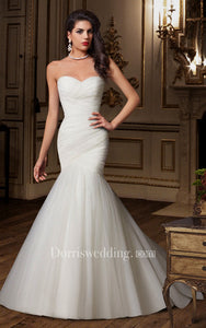 Sweetheart Criss-cross Ruching Mermaid Wedding Dress With Lace-up Back