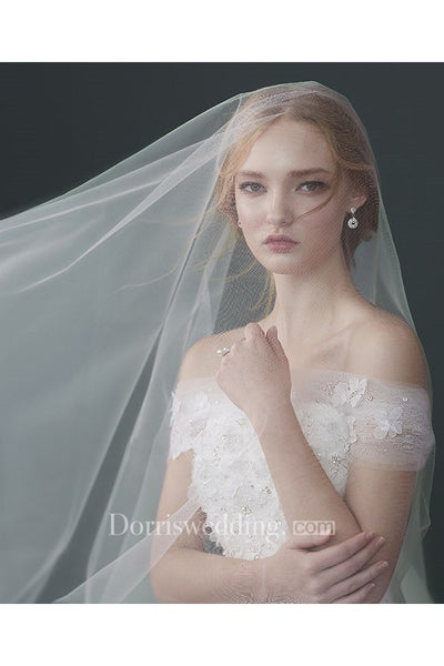 Simple Double Layer Ivory Bridal Wedding Veil With Insert Comb Long Train
