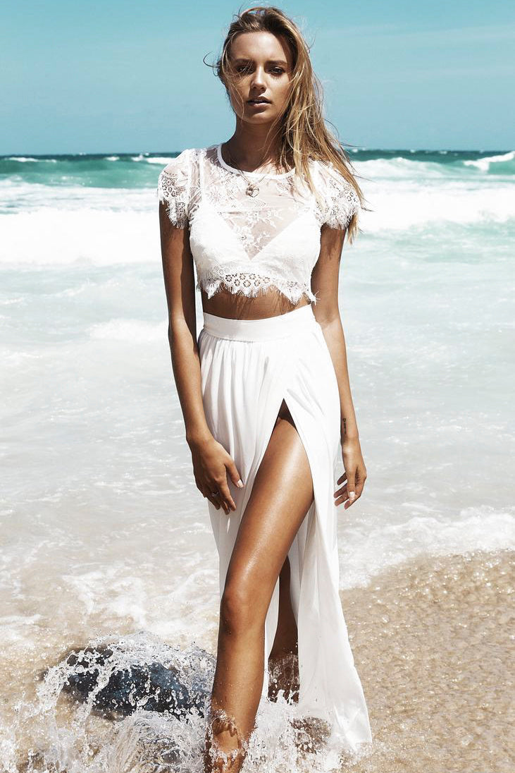 Two Piece Beach Wedding Dress With Front Split And Lace Top