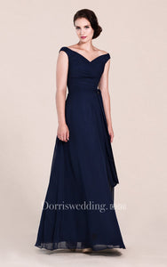 Off-shoulder A-line Chiffon Gown With V-back